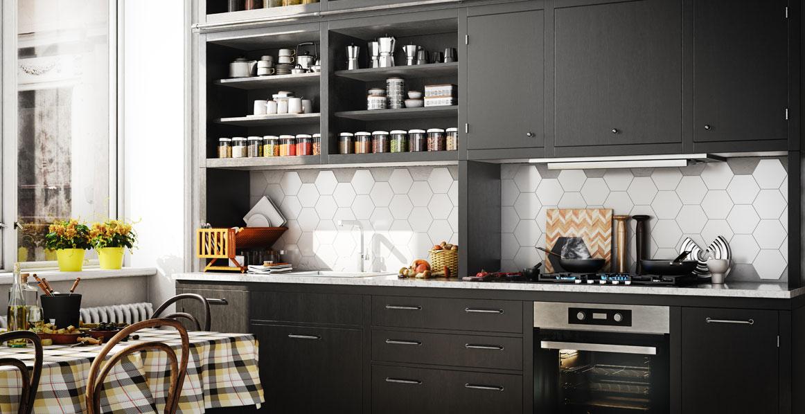 Black Kitchen with white countertops